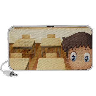A young boy inside the classroom iPhone speaker