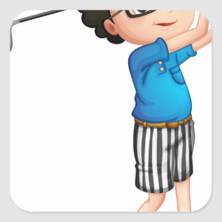 A young boy playing golf square sticker