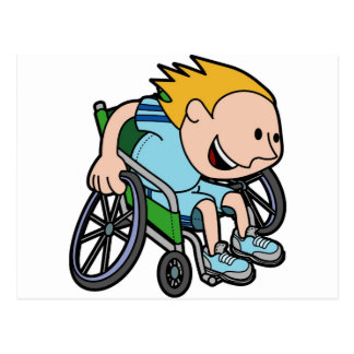 A young boy racing in a wheelchair post cards