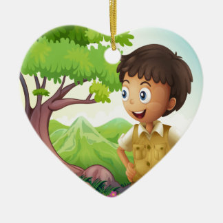 A young boyscout in the forest ceramic heart ornament