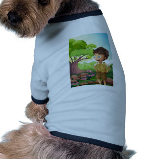 A young boyscout in the forest dog tee