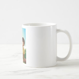 A young boyscout in the forest basic white mug