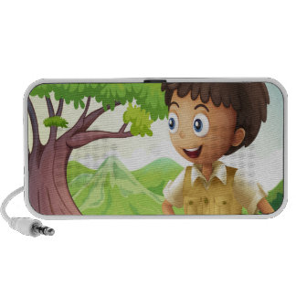 A young boyscout in the forest iPhone speaker