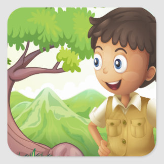 A young boyscout in the forest square sticker