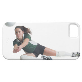 a young caucasian female volleyball player in a case for the iPhone 5