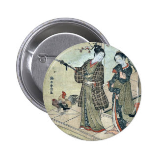 A young dandy and a woman by Suzuki Harunobu Buttons
