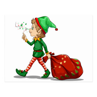 A young elf dragging a sack of gifts postcard