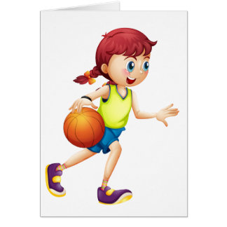 A young girl playing basketball card