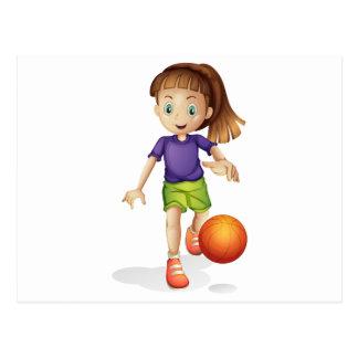 A young girl playing basketball postcard