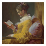 A Young Girl Reading Print