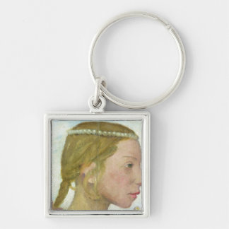 A Young Girl Silver-Colored Square Key Ring