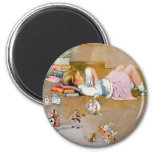 A YOUNG GIRL TAKES A TRIP TO WONDERLAND 6 CM ROUND MAGNET