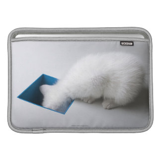 A Young Kitten Stretches His Head Down a Square MacBook Sleeve