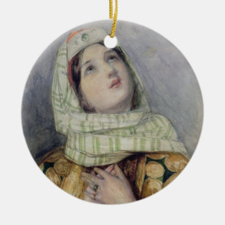 A Young Lady in Turkish Dress (w/c over pencil on Round Ceramic Decoration