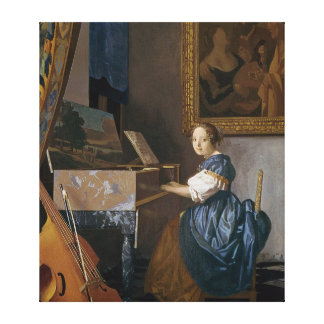 A Young Lady Seated at a Virginal, c.1670 Canvas Print