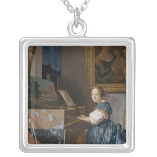 A Young Lady Seated at a Virginal, c.1670 Silver Plated Necklace