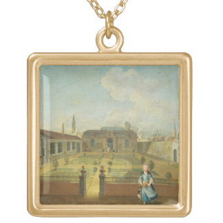 A Young Lady with her Dog in front of a Garden (se Gold Plated Necklace