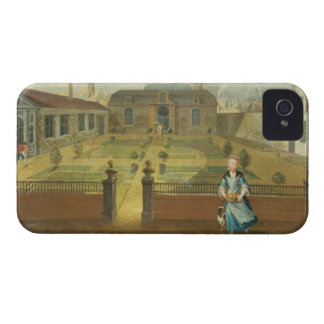 A Young Lady with her Dog in front of a Garden (se iPhone 4 Cases