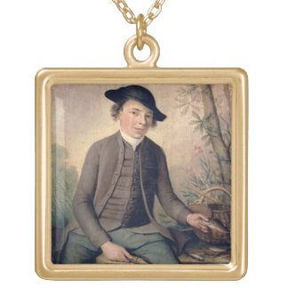 A Young Man Gutting Fish, 1782 (panel) Gold Plated Necklace
