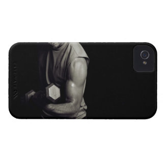 A young man lifts weights. iPhone 4 covers