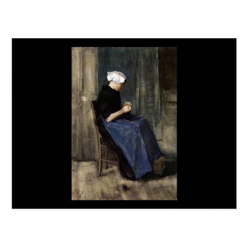 A Young Scheveningen Woman Knitting Post Cards