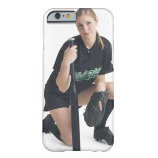 a young smiling caucasian woman is wearing a barely there iPhone 6 case