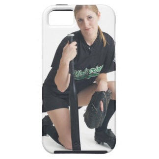 a young smiling caucasian woman is wearing a case for the iPhone 5