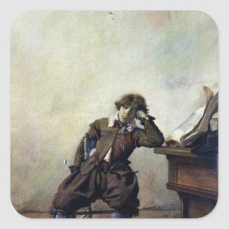 A Young Student in his Study or, The Smoker Square Sticker