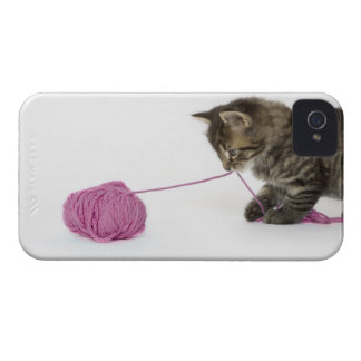 A young tabby kitten playing with a ball of iPhone 4 Case-Mate cases