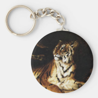 A Young Tiger with its Mother Basic Round Button Key Ring