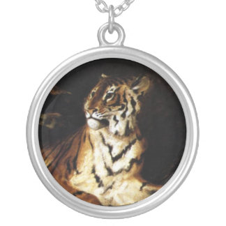 A Young Tiger with its Mother Round Pendant Necklace