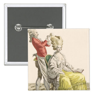 A Young Woman in a Peignoir with her Hairdresser, 15 Cm Square Badge