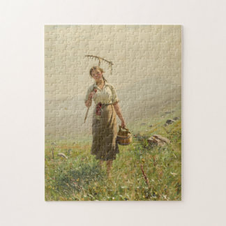 A young woman in the meadow by Hans Dahl Puzzles