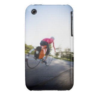 A young woman rides a bike around a park at iPhone 3 Case-Mate case