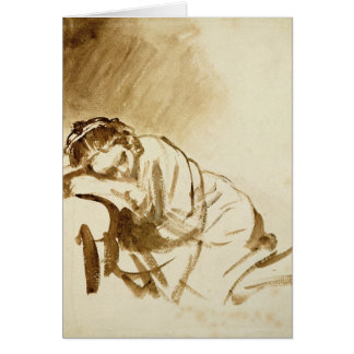 A Young Woman Sleeping  c.1654 Card