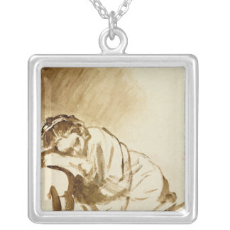A Young Woman Sleeping  c.1654 Silver Plated Necklace