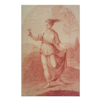 A Young Woman walking bare-footed in a Landscape Poster