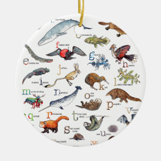A-Z of amazing animals Christmas Ornament
