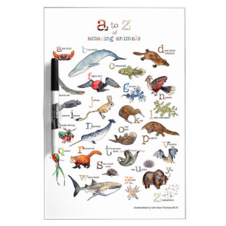 A-Z of amazing animals Dry Erase Board