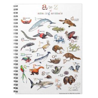 A-Z of amazing animals Spiral Notebook
