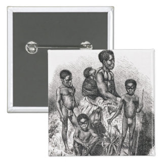 A Zulu family from The History of Mankind 15 Cm Square Badge