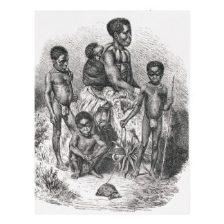 A Zulu family from The History of Mankind Postcard