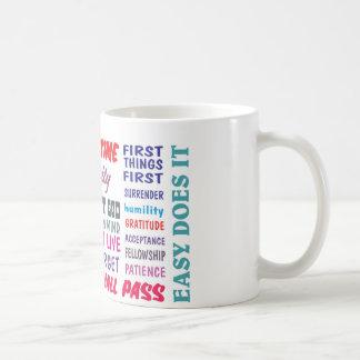 aa 12 steps slogans mug