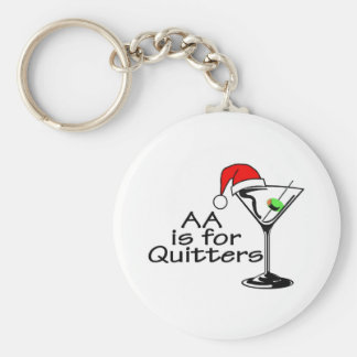 AA Is For Quitters Basic Round Button Key Ring