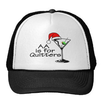 AA Is For Quitters Christmas Martini Trucker Hat