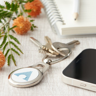 AAA-CPA Icon Oval Keychain Silver-Colored Oval Key Ring