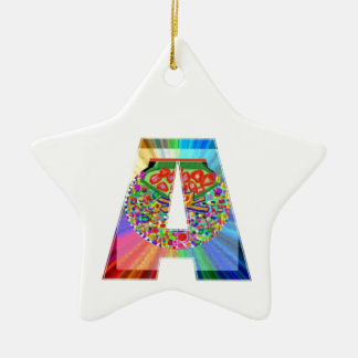 AAA Cutout JEWEL : FirstClass First Topper Double-Sided Star Ceramic Christmas Ornament