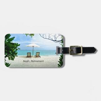 Aaah...retirement, relaxing beach scene luggage tag