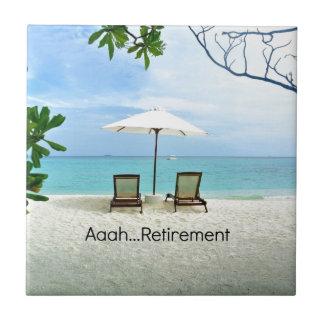 Aaah...retirement, relaxing beach scene tile