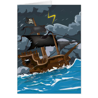 AAAR! Old Pirate Ship in Storm Card